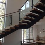Beach Glass Iron and Wood Spiral Stairs