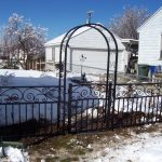 Impression Iron Fence with Gate and Trellis
